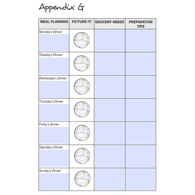 meal planning chart appendix g